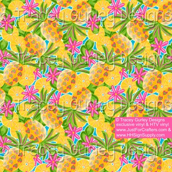 PRE-MASKED Pineapple Crush Heat Transfer Vinyl By The Foot